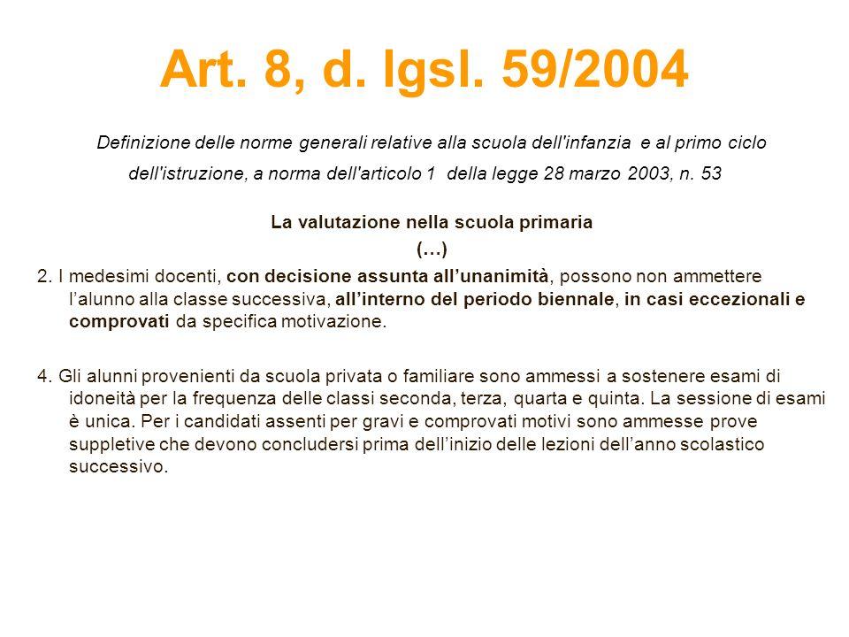 Art. 8, d. lgsl. 59/2004 Definizione delle norme generali relative alla scuola dell'infanzia e al primo ciclo dell'istruzione, a norma dell'articolo 1
