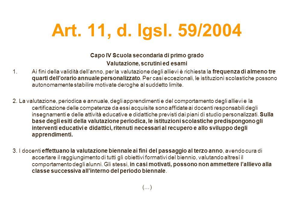 Art. 11, d. lgsl. 59/2004 Capo IV Scuola secondaria di primo grado Valutazione, scrutini ed esami 1.Ai fini della validità dellanno, per la valutazion
