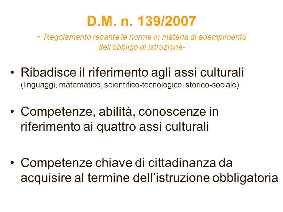 D.M. n. 139/2007 - Regolamento recante le norme in materia di adempimento dellobbligo di istruzione- Ribadisce il riferimento agli assi culturali (lin