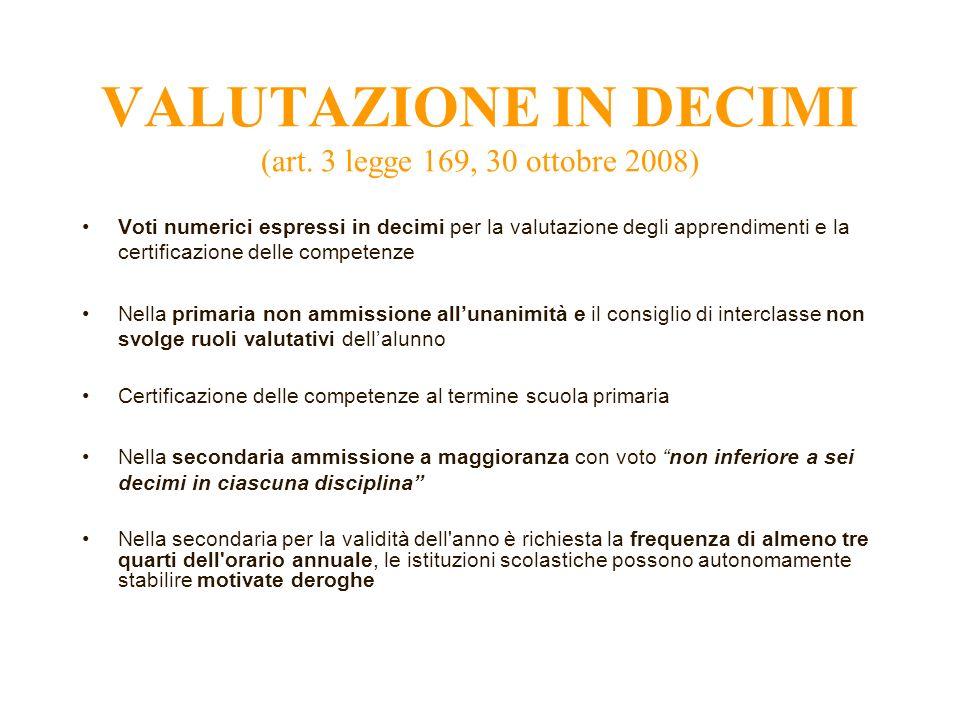 VALUTAZIONE IN DECIMI (art. 3 legge 169, 30 ottobre 2008) Voti numerici espressi in decimi per la valutazione degli apprendimenti e la certificazione