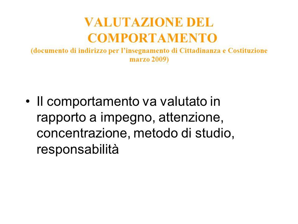 VALUTAZIONE DEL COMPORTAMENTO (documento di indirizzo per linsegnamento di Cittadinanza e Costituzione marzo 2009) Il comportamento va valutato in rap