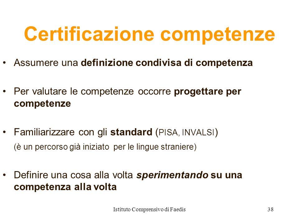 Certificazione competenze Assumere una definizione condivisa di competenza Per valutare le competenze occorre progettare per competenze Familiarizzare