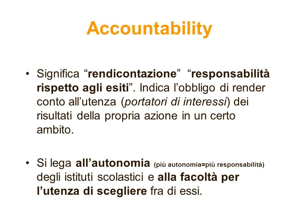 Accountability Significa rendicontazione responsabilità rispetto agli esiti. Indica lobbligo di render conto allutenza (portatori di interessi) dei ri