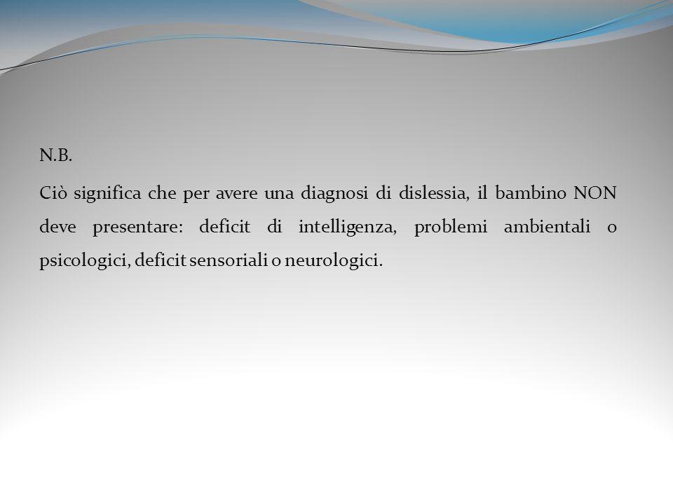 N.B. Ciò significa che per avere una diagnosi di dislessia, il bambino NON deve presentare: deficit di intelligenza, problemi ambientali o psicologici