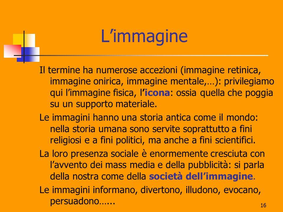 16 Limmagine Il termine ha numerose accezioni (immagine retinica, immagine onirica, immagine mentale,…): privilegiamo qui limmagine fisica, licona: os
