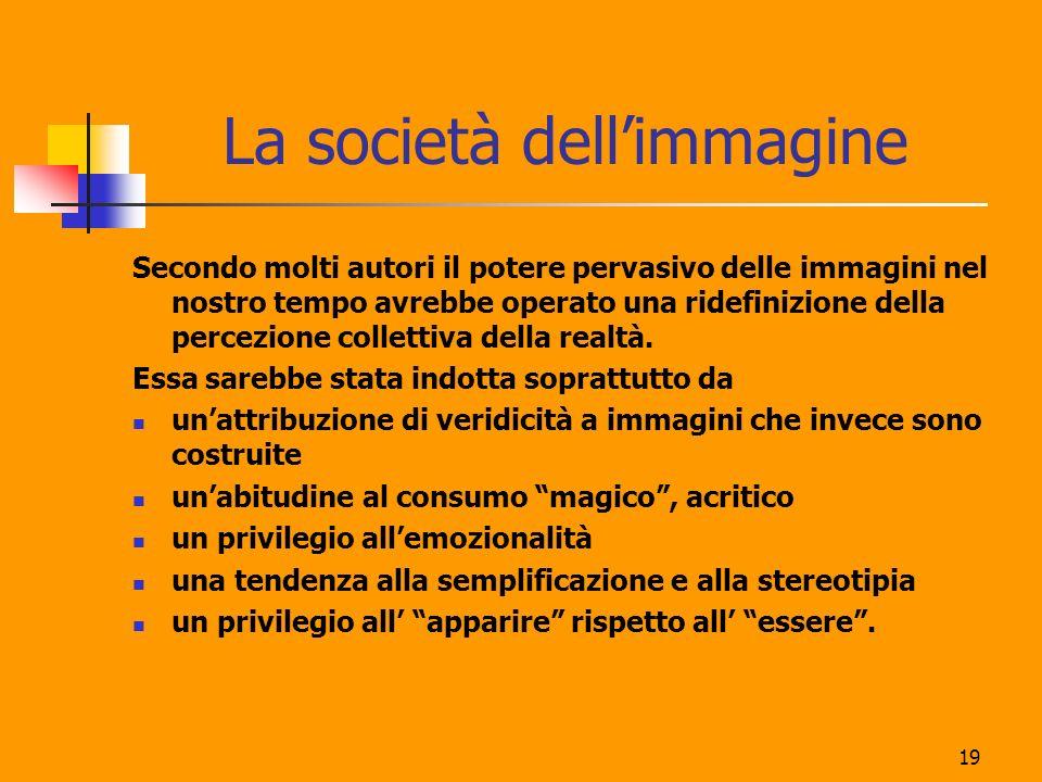 19 La società dellimmagine Secondo molti autori il potere pervasivo delle immagini nel nostro tempo avrebbe operato una ridefinizione della percezione