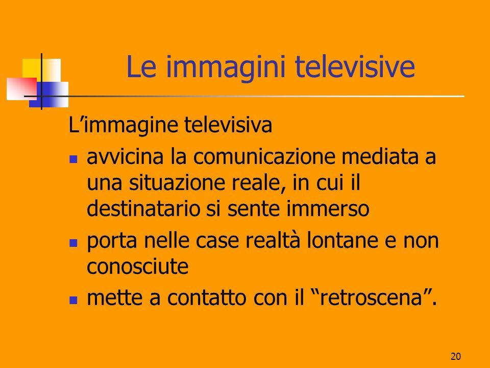 20 Le immagini televisive Limmagine televisiva avvicina la comunicazione mediata a una situazione reale, in cui il destinatario si sente immerso porta