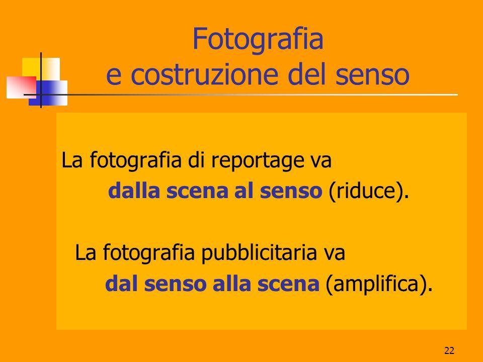 22 Fotografia e costruzione del senso La fotografia di reportage va dalla scena al senso (riduce). La fotografia pubblicitaria va dal senso alla scena