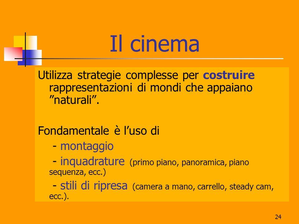 24 Il cinema Utilizza strategie complesse per costruire rappresentazioni di mondi che appaiano naturali. Fondamentale è luso di - montaggio - inquadra