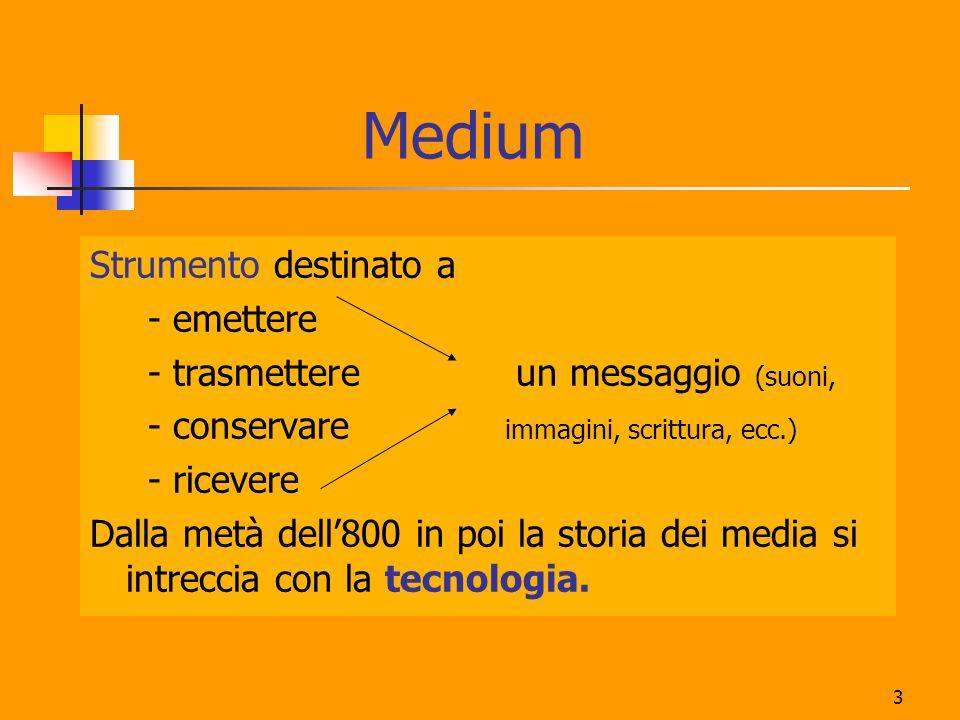 3 Medium Strumento destinato a - emettere - trasmettere un messaggio (suoni, - conservare immagini, scrittura, ecc.) - ricevere Dalla metà dell800 in
