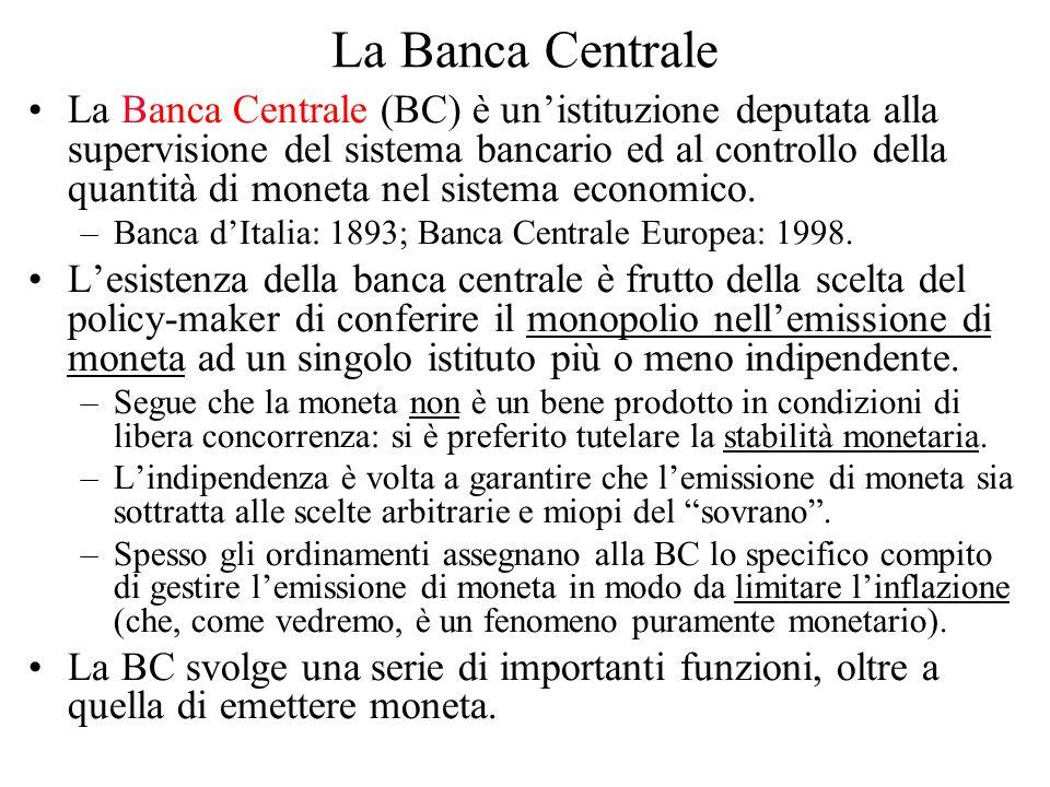 La Banca Centrale La Banca Centrale (BC) è unistituzione deputata alla supervisione del sistema bancario ed al controllo della quantità di moneta nel