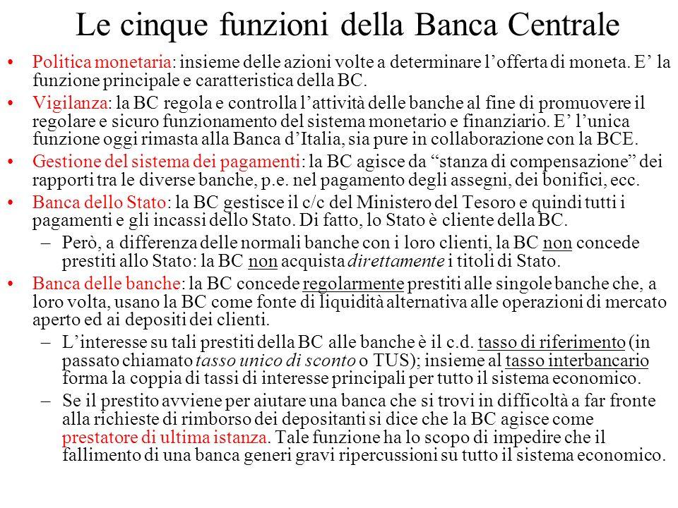 Le cinque funzioni della Banca Centrale Politica monetaria: insieme delle azioni volte a determinare lofferta di moneta. E la funzione principale e ca