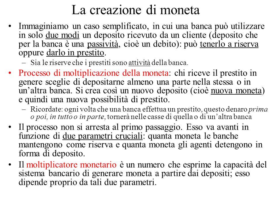 La creazione di moneta Immaginiamo un caso semplificato, in cui una banca può utilizzare in solo due modi un deposito ricevuto da un cliente (deposito