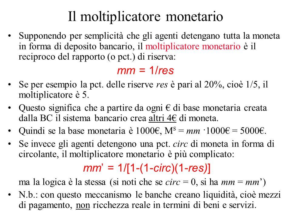 Il moltiplicatore monetario Supponendo per semplicità che gli agenti detengano tutta la moneta in forma di deposito bancario, il moltiplicatore moneta
