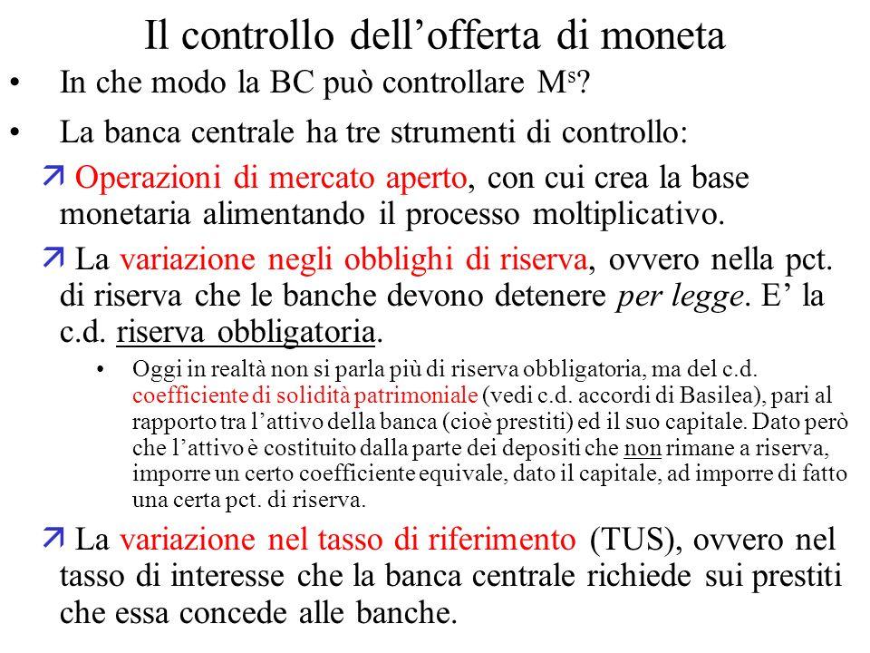 Il controllo dellofferta di moneta In che modo la BC può controllare M s ? La banca centrale ha tre strumenti di controllo: Operazioni di mercato aper