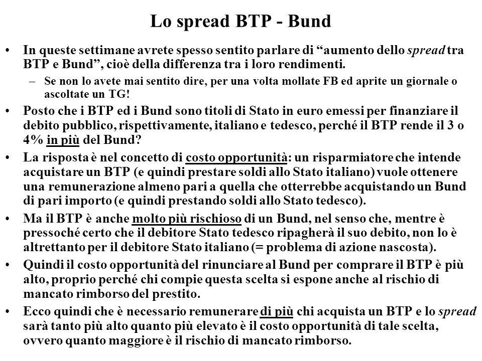 Lo spread BTP - Bund In queste settimane avrete spesso sentito parlare di aumento dello spread tra BTP e Bund, cioè della differenza tra i loro rendim
