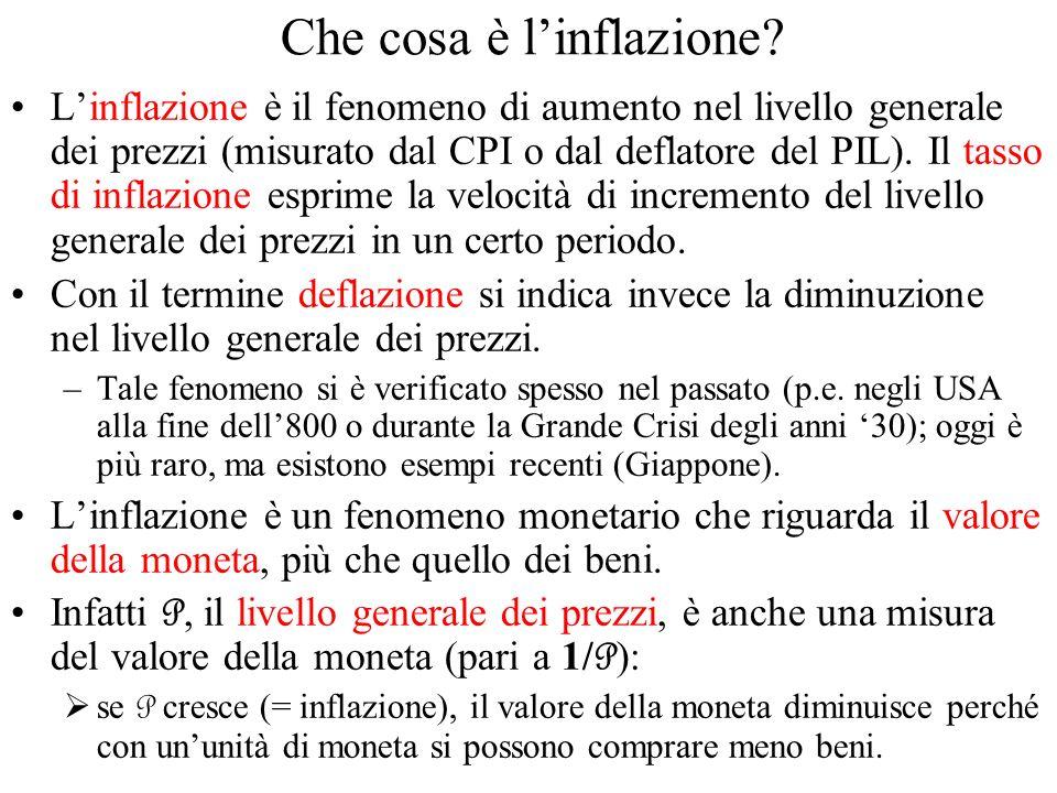 Che cosa è linflazione? Linflazione è il fenomeno di aumento nel livello generale dei prezzi (misurato dal CPI o dal deflatore del PIL). Il tasso di i
