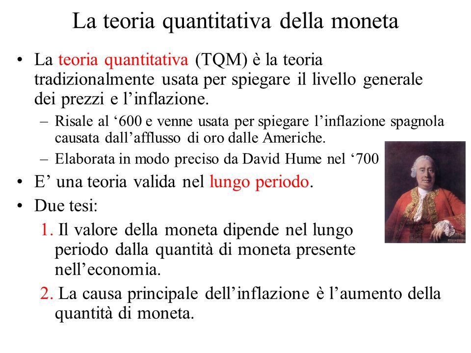 La teoria quantitativa della moneta La teoria quantitativa (TQM) è la teoria tradizionalmente usata per spiegare il livello generale dei prezzi e linf