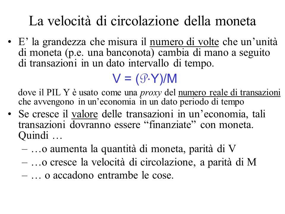 La velocità di circolazione della moneta E la grandezza che misura il numero di volte che ununità di moneta (p.e. una banconota) cambia di mano a segu