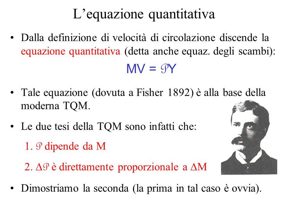 Lequazione quantitativa Dalla definizione di velocità di circolazione discende la equazione quantitativa (detta anche equaz. degli scambi): MV = P Y T