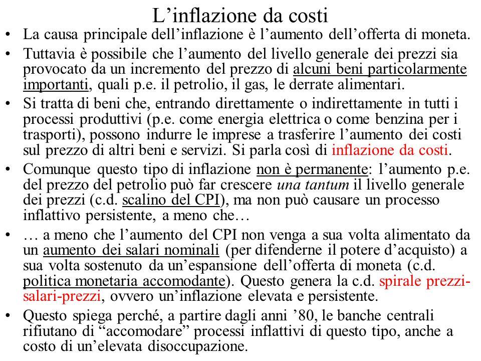 Linflazione da costi La causa principale dellinflazione è laumento dellofferta di moneta. Tuttavia è possibile che laumento del livello generale dei p