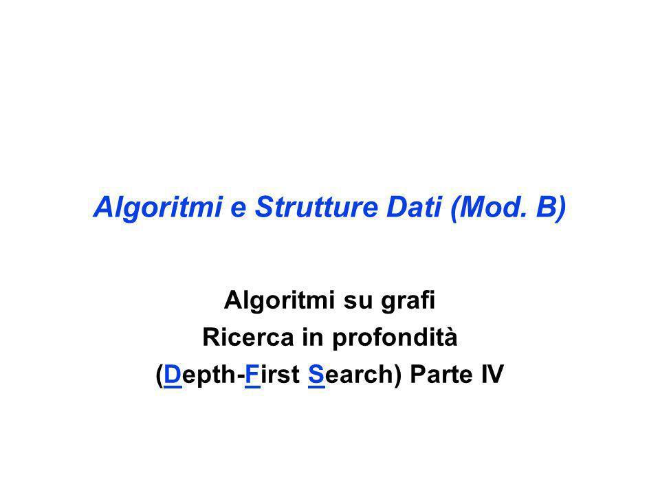 Algoritmi e Strutture Dati (Mod. B) Algoritmi su grafi Ricerca in profondità (Depth-First Search) Parte IV