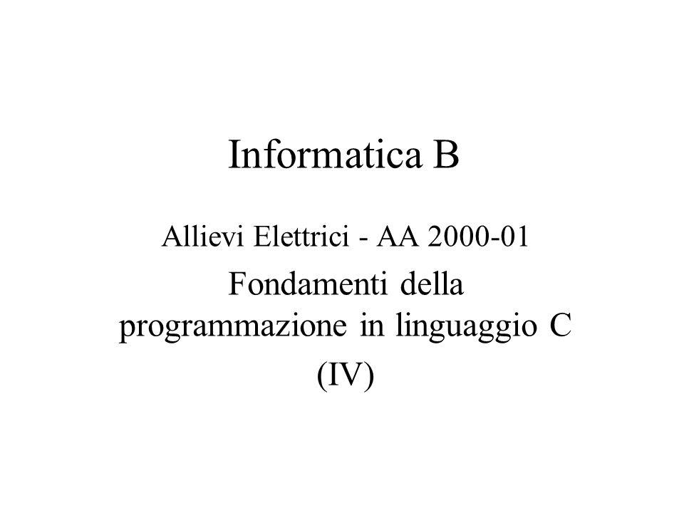 Informatica B Allievi Elettrici - AA 2000-01 Fondamenti della programmazione in linguaggio C (IV)