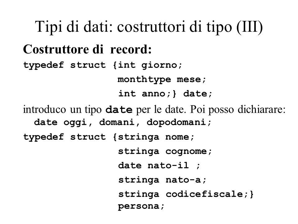 Tipi di dati: costruttori di tipo (III) Costruttore di record: typedef struct {int giorno; monthtype mese; int anno;} date; introduco un tipo date per le date.