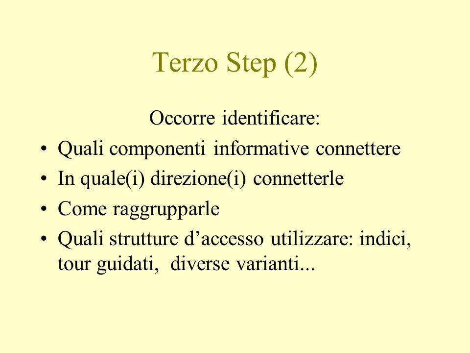Terzo Step (2) Occorre identificare: Quali componenti informative connettere In quale(i) direzione(i) connetterle Come raggrupparle Quali strutture da