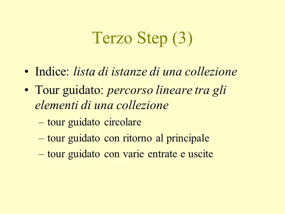 Terzo Step (3) Indice: lista di istanze di una collezione Tour guidato: percorso lineare tra gli elementi di una collezione –tour guidato circolare –t