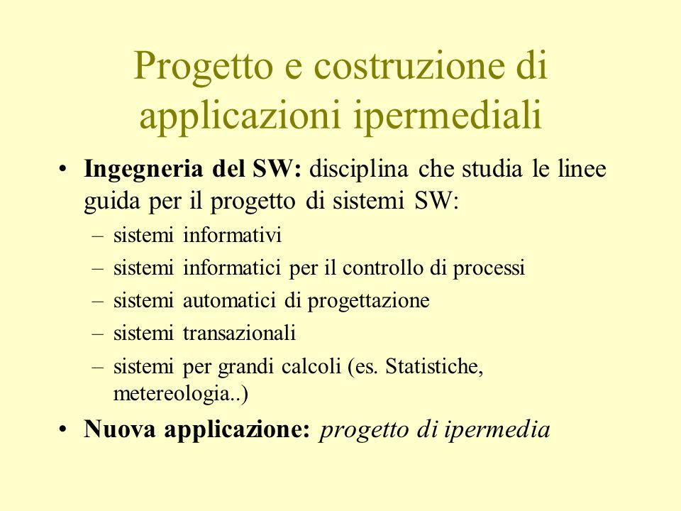 Progetto e costruzione di applicazioni ipermediali Ingegneria del SW: disciplina che studia le linee guida per il progetto di sistemi SW: –sistemi inf