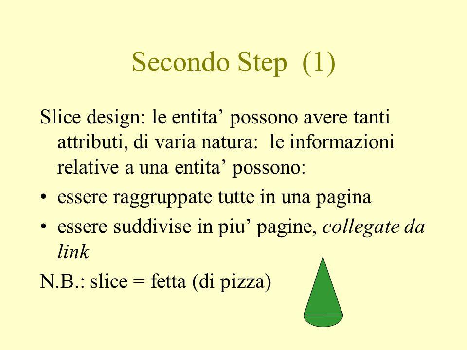 Secondo Step (1) Slice design: le entita possono avere tanti attributi, di varia natura: le informazioni relative a una entita possono: essere raggrup