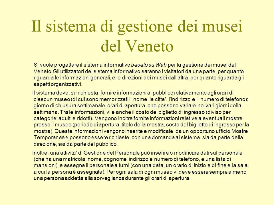 Il sistema di gestione dei musei del Veneto Si vuole progettare il sistema informativo basato su Web per la gestione dei musei del Veneto.Gli utilizza