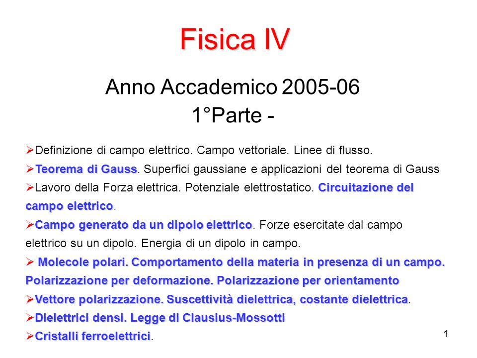 1 Fisica IV Anno Accademico 2005-06 1°Parte - Definizione di campo elettrico. Campo vettoriale. Linee di flusso. Teorema di Gauss Teorema di Gauss. Su