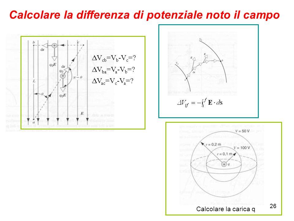 26 Calcolare la differenza di potenziale noto il campo V cb =V b -V c =? V ba =V a -V b =? V ac =V c -V a =? Calcolare la carica q