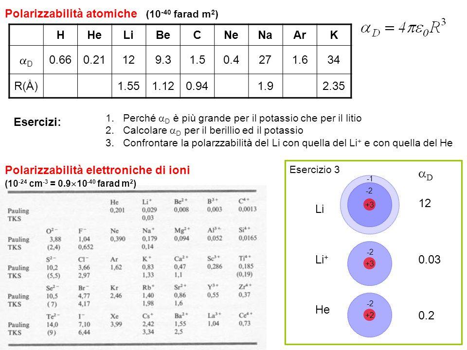 45 1.Perché D è più grande per il potassio che per il litio 2.Calcolare D per il berillio ed il potassio 3.Confrontare la polarzzabilità del Li con qu