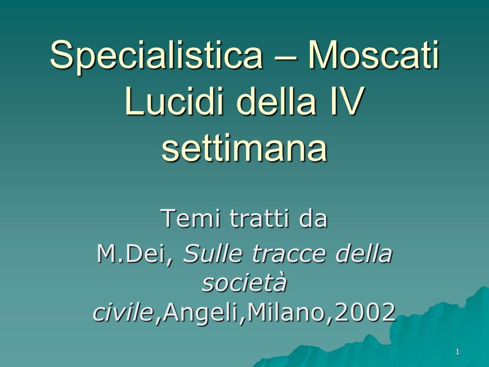1 Specialistica – Moscati Lucidi della IV settimana Temi tratti da M.Dei, Sulle tracce della società civile,Angeli,Milano,2002