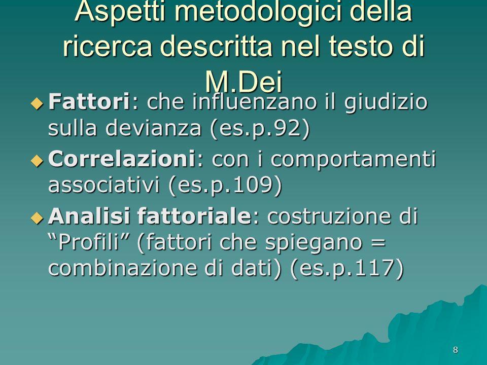 8 Aspetti metodologici della ricerca descritta nel testo di M.Dei Fattori: che influenzano il giudizio sulla devianza (es.p.92) Fattori: che influenzano il giudizio sulla devianza (es.p.92) Correlazioni: con i comportamenti associativi (es.p.109) Correlazioni: con i comportamenti associativi (es.p.109) Analisi fattoriale: costruzione di Profili (fattori che spiegano = combinazione di dati) (es.p.117) Analisi fattoriale: costruzione di Profili (fattori che spiegano = combinazione di dati) (es.p.117)