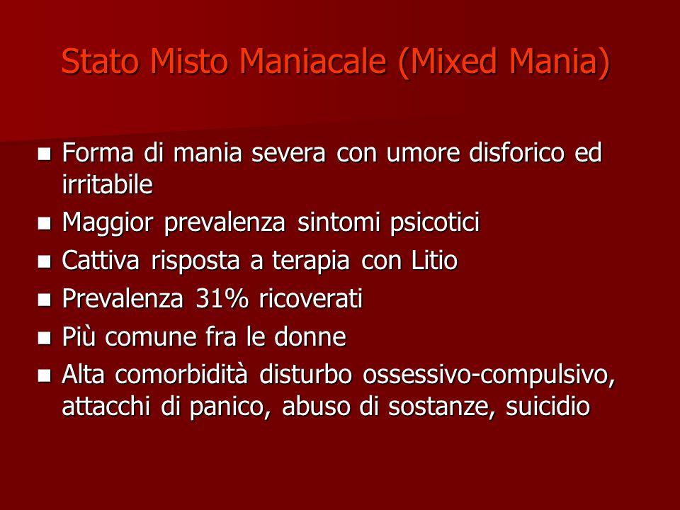 Stato Misto Maniacale (Mixed Mania) Forma di mania severa con umore disforico ed irritabile Forma di mania severa con umore disforico ed irritabile Ma