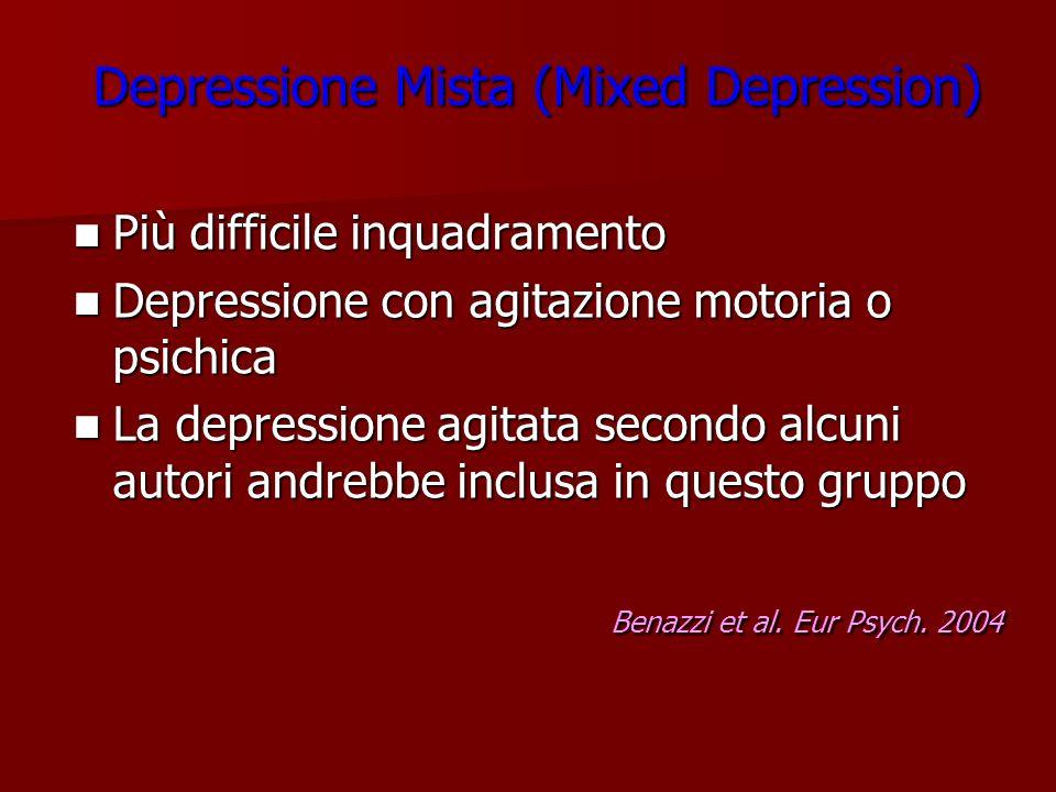 Depressione Mista (Mixed Depression) Più difficile inquadramento Più difficile inquadramento Depressione con agitazione motoria o psichica Depressione