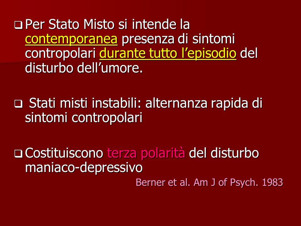 Per Stato Misto si intende la contemporanea presenza di sintomi contropolari durante tutto lepisodio del disturbo dellumore. Per Stato Misto si intend