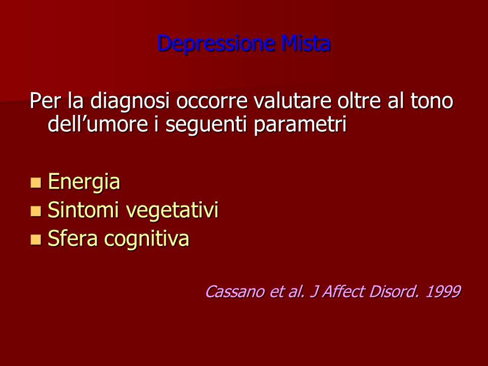 Depressione Mista Per la diagnosi occorre valutare oltre al tono dellumore i seguenti parametri Energia Energia Sintomi vegetativi Sintomi vegetativi