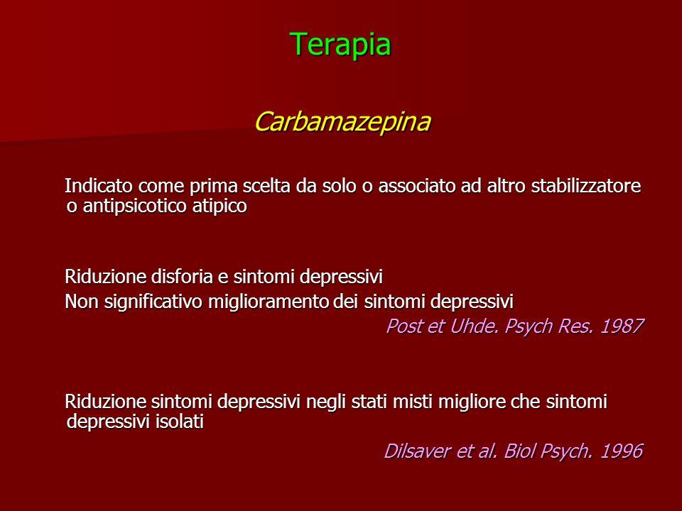 TerapiaCarbamazepina Indicato come prima scelta da solo o associato ad altro stabilizzatore o antipsicotico atipico Indicato come prima scelta da solo