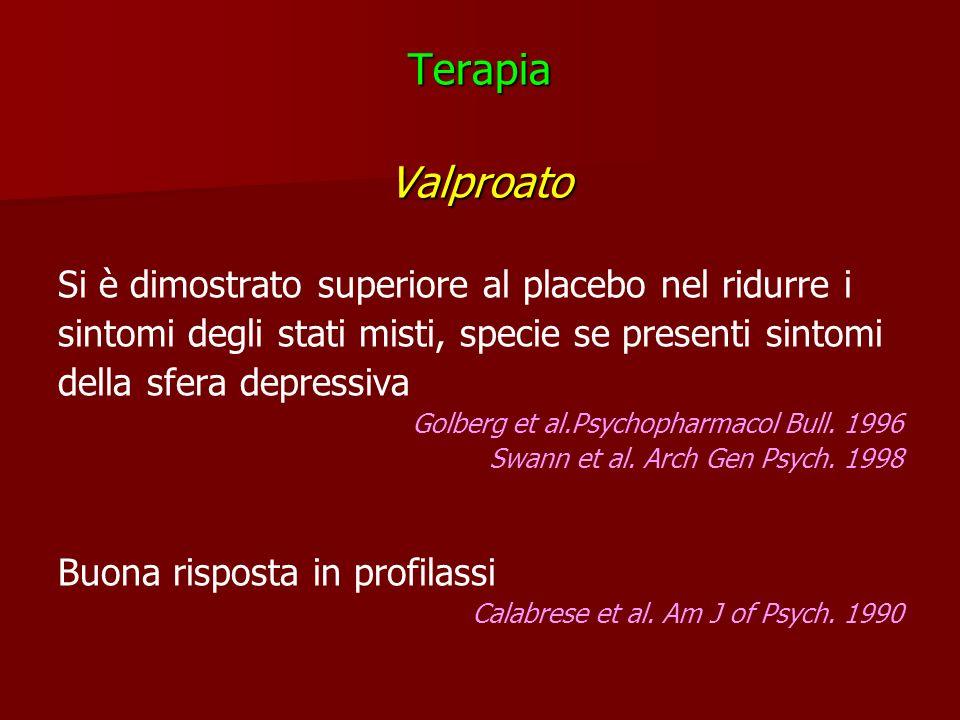 TerapiaValproato Si è dimostrato superiore al placebo nel ridurre i sintomi degli stati misti, specie se presenti sintomi della sfera depressiva Golbe