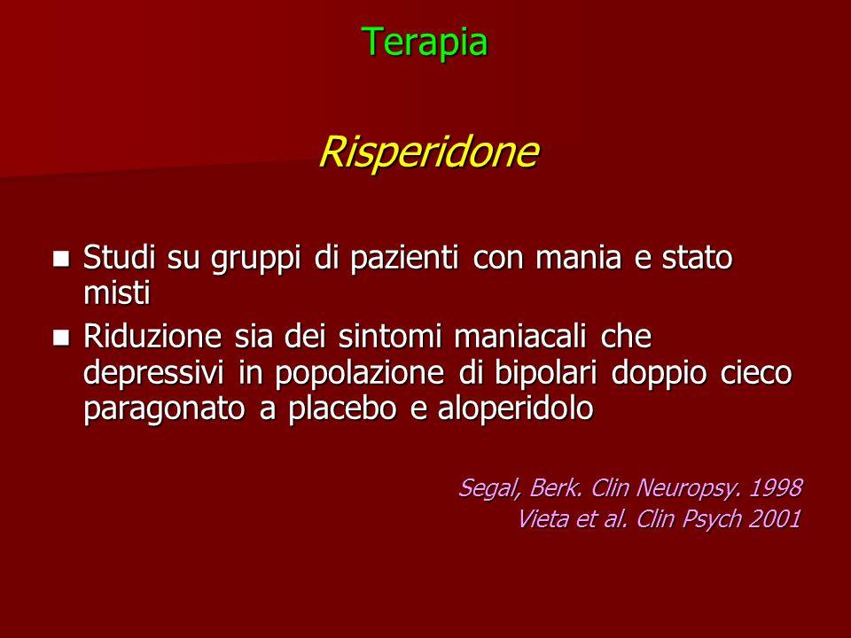 TerapiaRisperidone Studi su gruppi di pazienti con mania e stato misti Studi su gruppi di pazienti con mania e stato misti Riduzione sia dei sintomi m