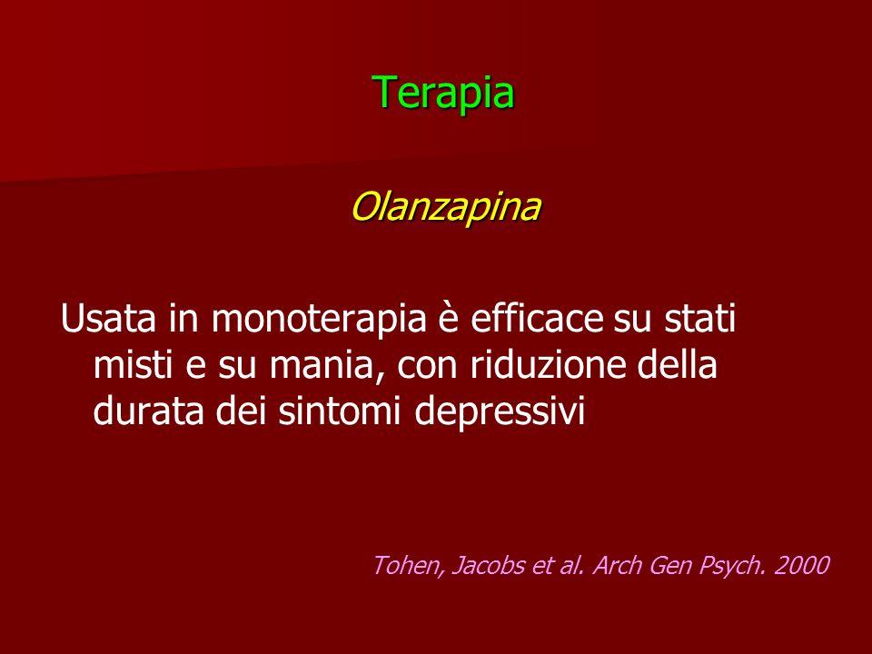 TerapiaOlanzapina Usata in monoterapia è efficace su stati misti e su mania, con riduzione della durata dei sintomi depressivi Tohen, Jacobs et al. Ar