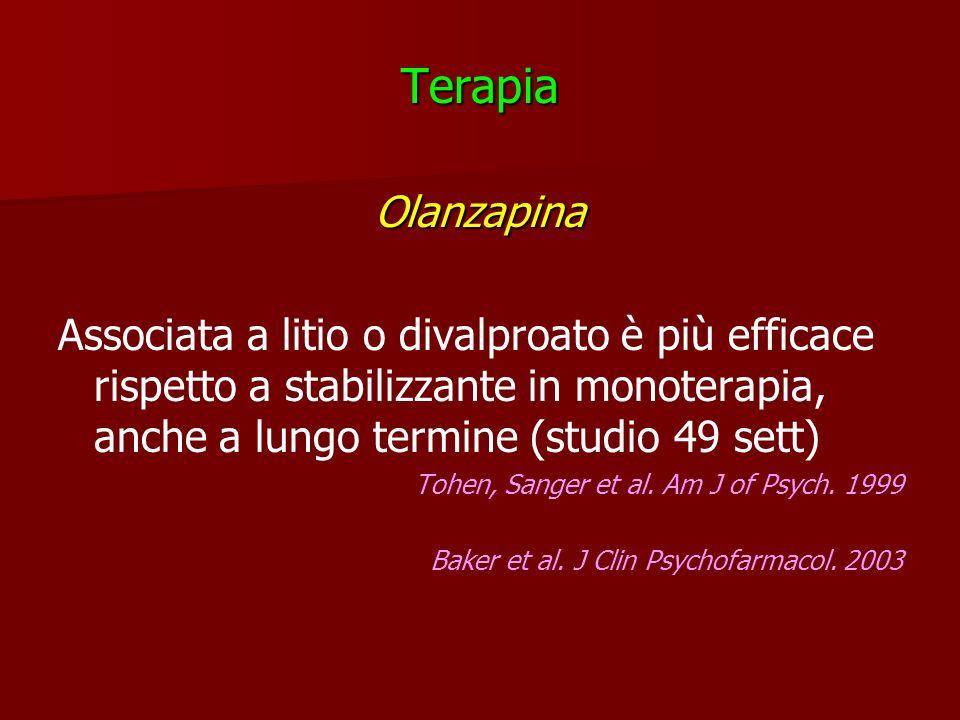 TerapiaOlanzapina Associata a litio o divalproato è più efficace rispetto a stabilizzante in monoterapia, anche a lungo termine (studio 49 sett) Tohen