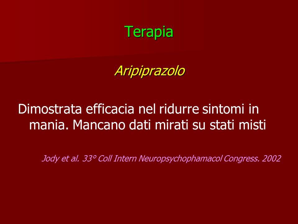 TerapiaAripiprazolo Dimostrata efficacia nel ridurre sintomi in mania. Mancano dati mirati su stati misti Jody et al. 33° Coll Intern Neuropsychophama