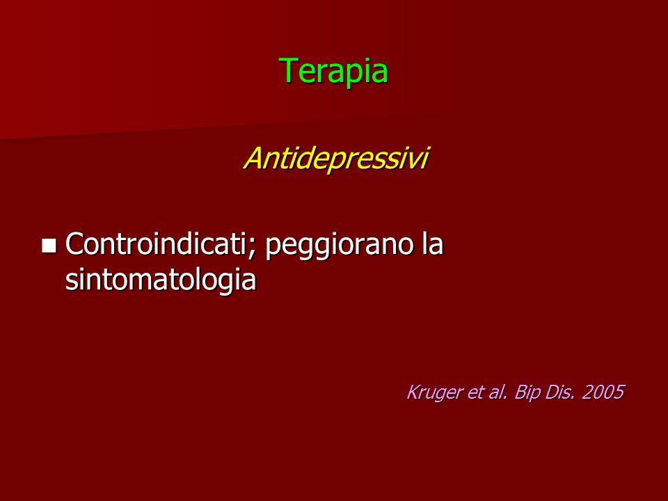 TerapiaAntidepressivi Controindicati; peggiorano la sintomatologia Controindicati; peggiorano la sintomatologia Kruger et al. Bip Dis. 2005 Kruger et