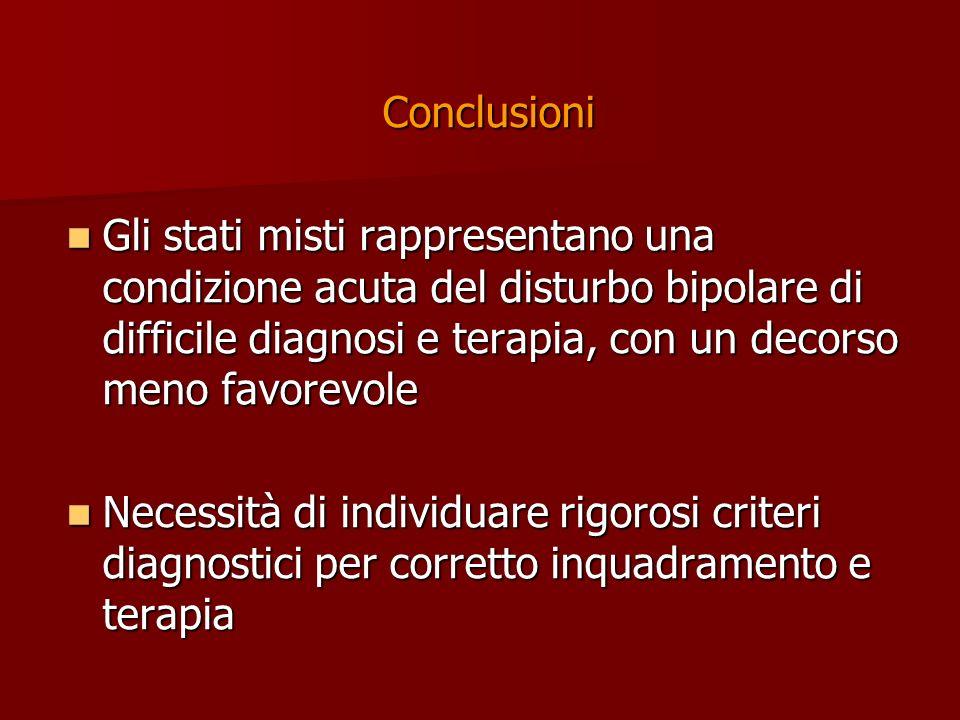 Conclusioni Gli stati misti rappresentano una condizione acuta del disturbo bipolare di difficile diagnosi e terapia, con un decorso meno favorevole G